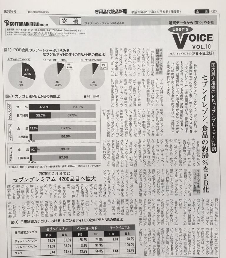 """『日用品化粧品新聞(2018年8月3日号)』弊社コーナー「User's VOICE」~購買データから""""買う""""を分析~ VOL.10掲載"""